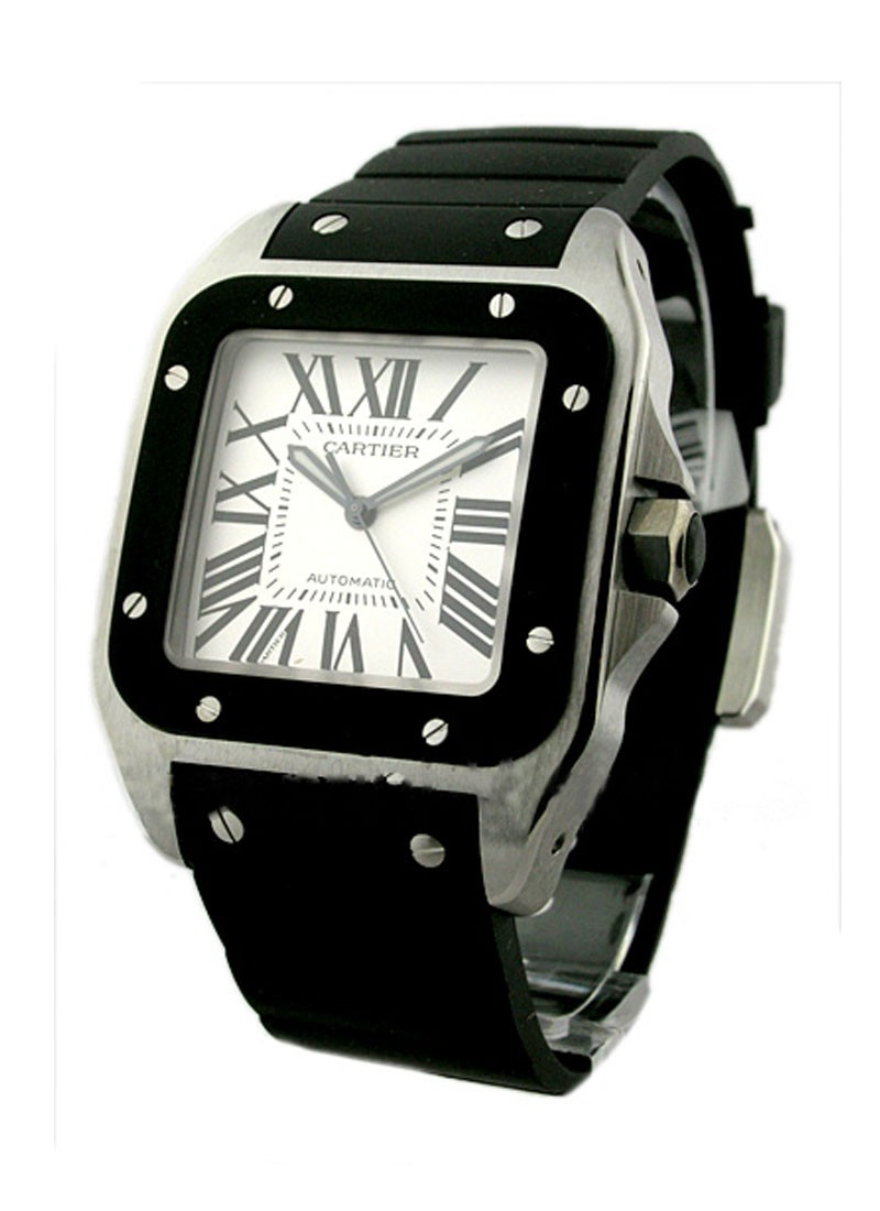 Cartier Santos 100   Large Size in Steel with Rubber Bezel