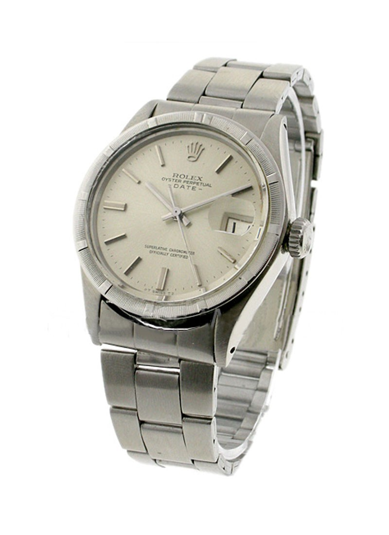 Pre-Owned Rolex Date 34mm in Steel with Engine turned Bezel