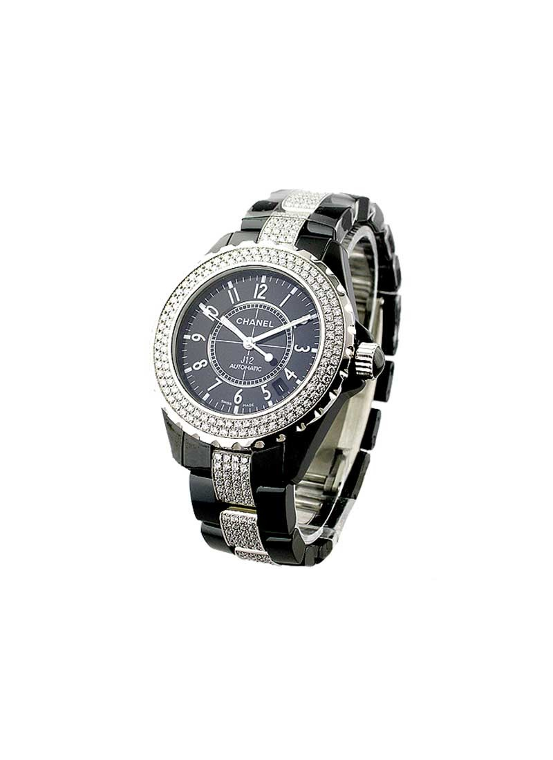Chanel Black J12 38mm in Ceramic with Diamonds Bezel