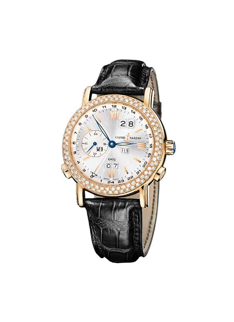 Ulysse Nardin GMT Perpetual 38mm in Rose Gold with Diamond Bezel