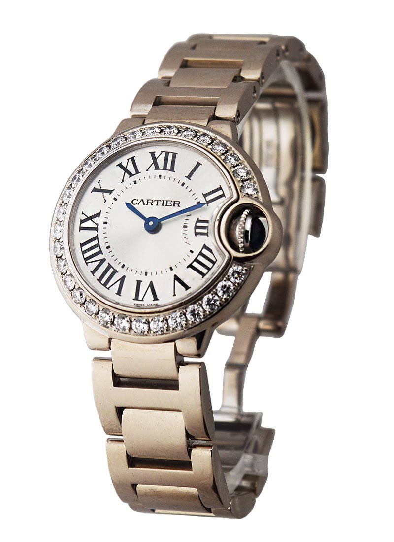 Cartier Ballon Bleu ladies 28mm in White Gold wiith Diamond Bezel