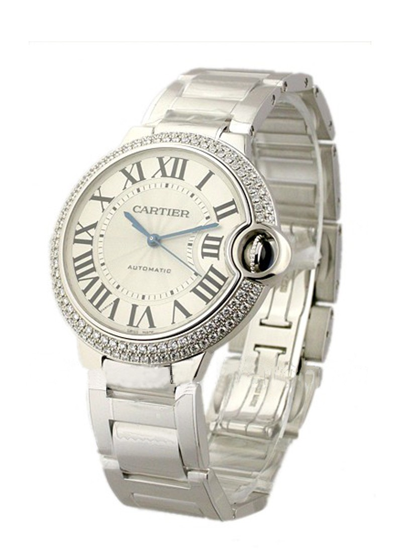 Cartier Ballon Bleu in White Gold with 2- Row Diamond Bezel - Mid Size