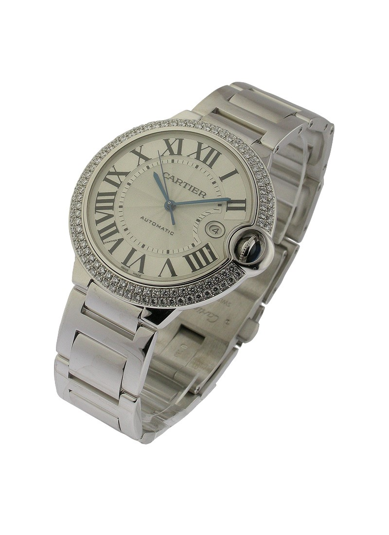 Cartier Ballon Bleu Large Size in White Gold with Diamond Bezel