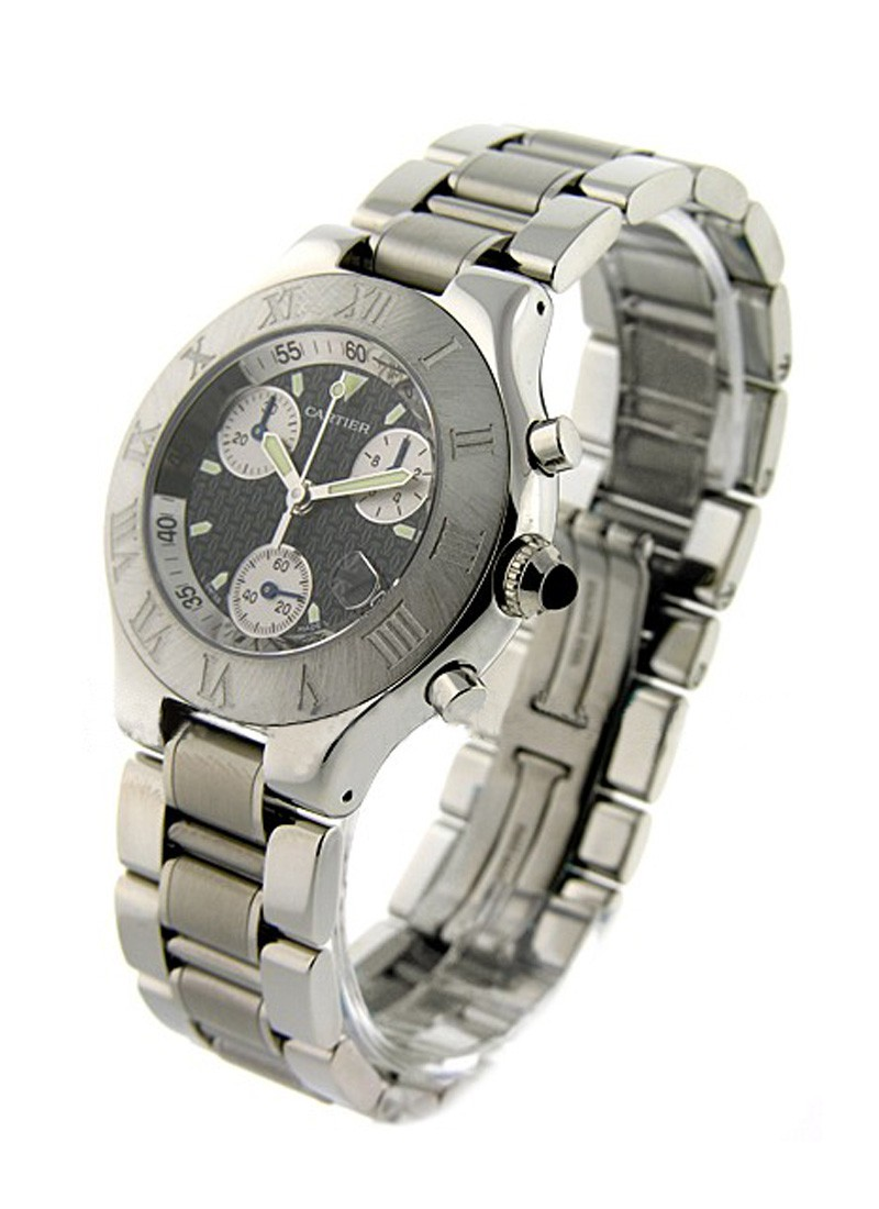 Cartier Must 21 Chronograph in Brushed Stainless Steel