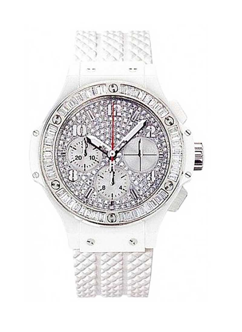 Hublot Big Bang Aspen 41mm in White Ceramic with Baguette Diamond Bezel