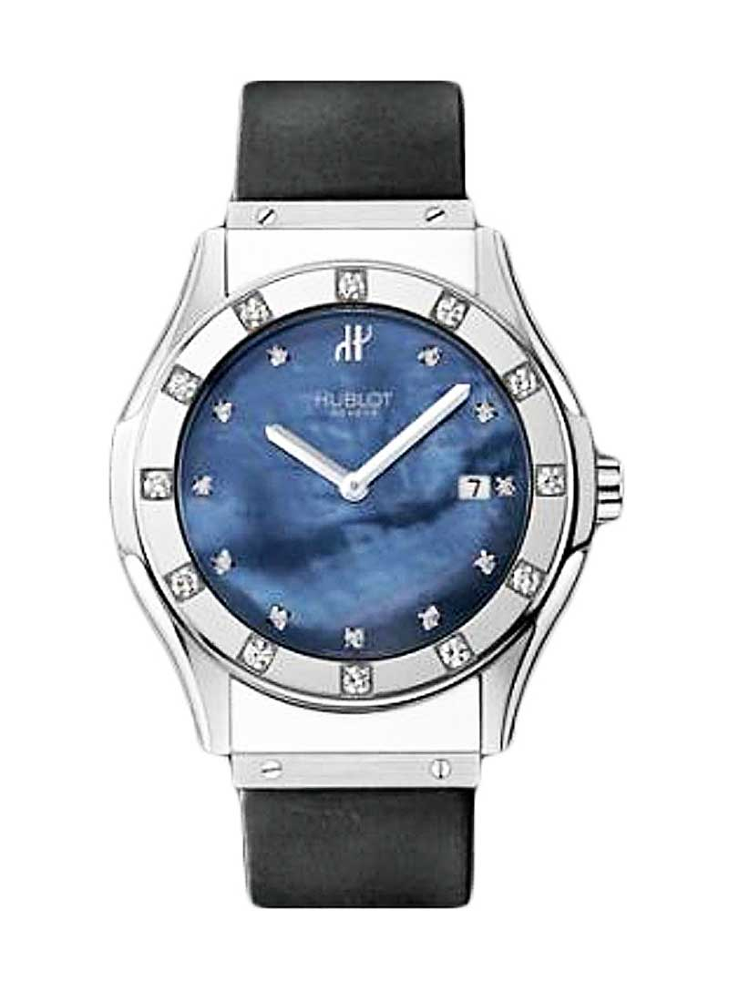 Hublot Classic 41mm in Steel with Partial Diamond Bezel