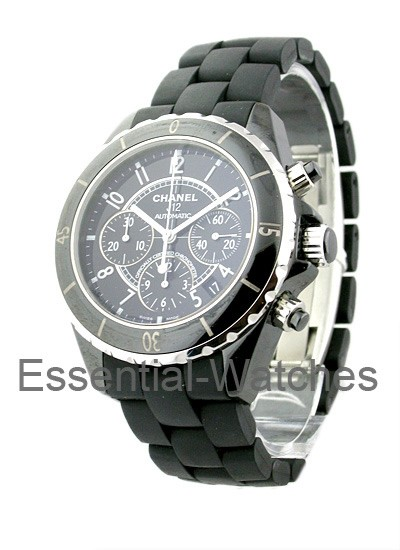 Chanel J12 Black Chronograph 41mm Automatic in Black Ceramic with Steel Rimmed & Black Ceramic Bezel