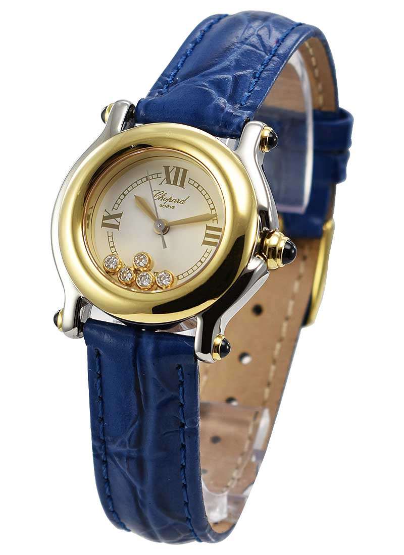 Chopard Happy Sport Round in Steel and Yellow Gold Bezel