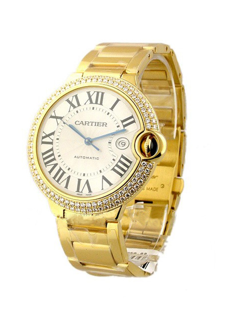 Cartier Ballon Bleu 42mm in Yellow Gold with Diamonds Bezel