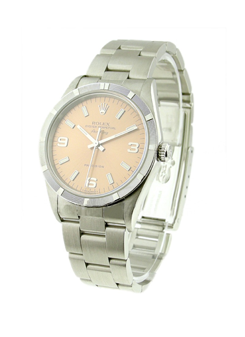 Pre-Owned Rolex Air-King in Steel with Engine Turned Bezel