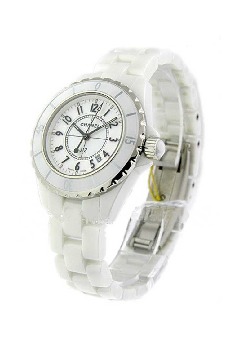 Chanel J12 White - Small Size in White Ceramic with Steel Bezel