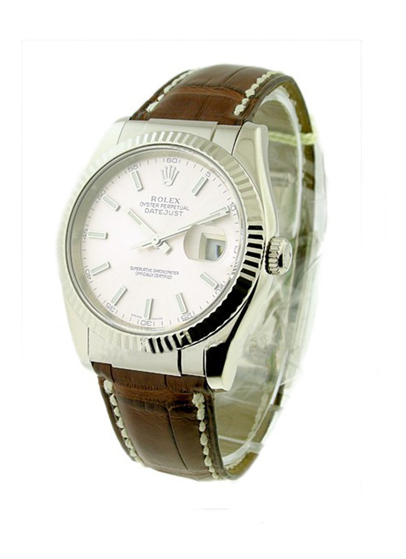 Pre-Owned Rolex Datejust 36mm in White Gold with Fluted Bezel