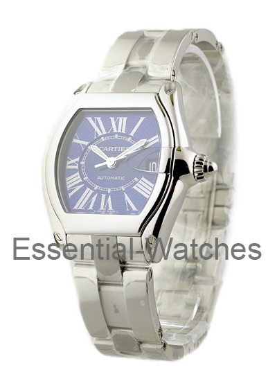 Cartier Mens Roadster Steel with Blue Dial