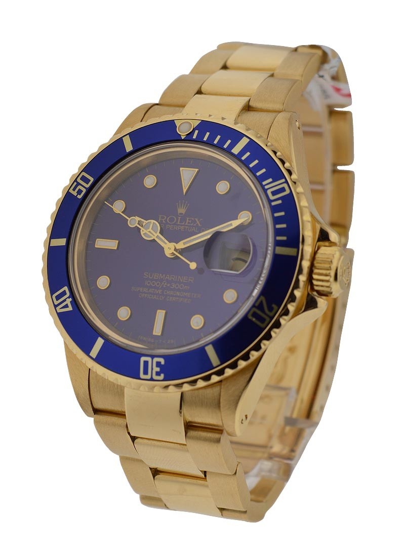 Rolex Used Submariner Yellow Gold with Blue Dial   16618