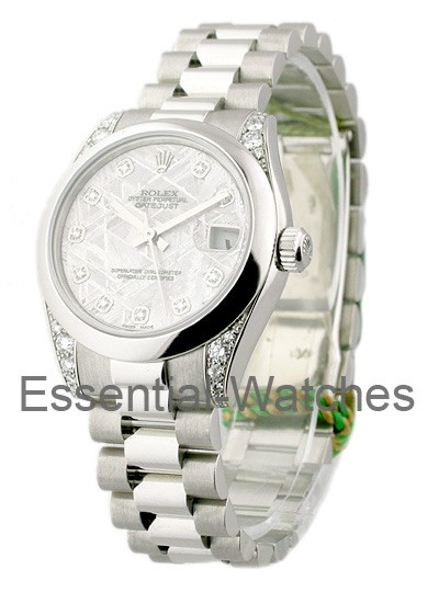 Rolex Unworn DateJust Mid Size President in Platinum with Diamond Lugs