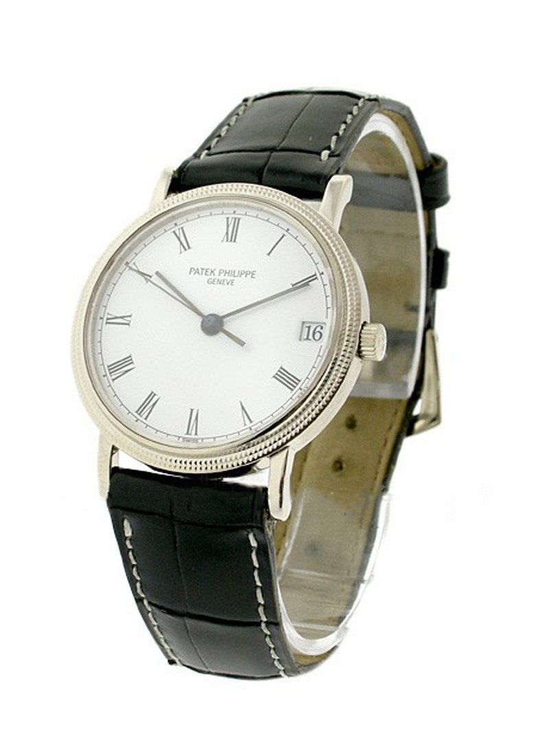 Patek Philippe Men's White Gold Calatrava with Hobnail Case