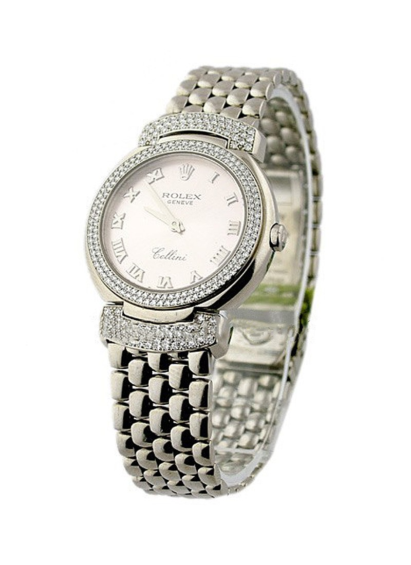 Rolex Unworn Cellisima in White Gold with 2 Row Diamond Bezel and Lugs