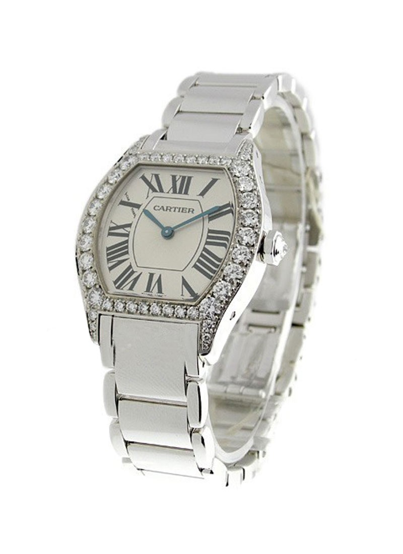 Cartier Tortue Small Size in White Gold with Diamond Bezel