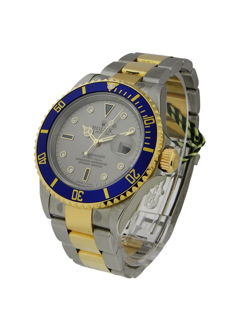 Rolex Used  Submariner 2 Tone with Silver Serti Dial