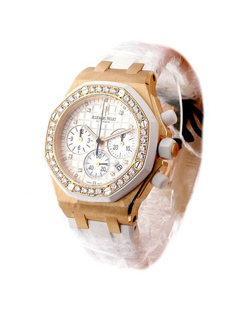 Audemars Piguet Ladys Offshore Chronograph in Rose Gold with Diamond Bezel