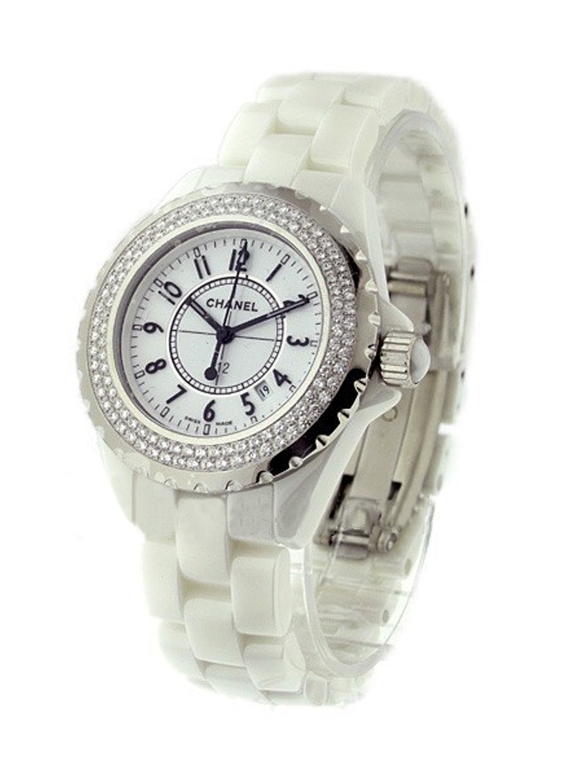 Chanel J12 H0967 in White Ceramic with 2-Row Diamond Bezel
