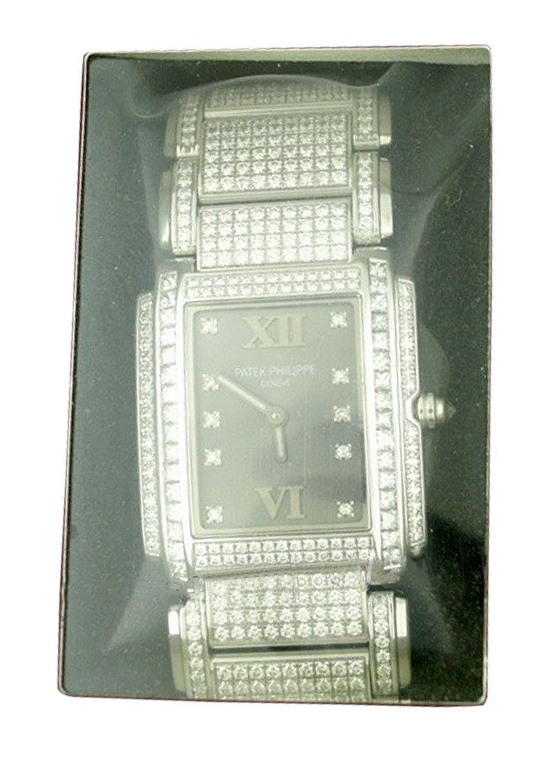 Patek Philippe Twenty 4   Large Size on Pave Bracelet