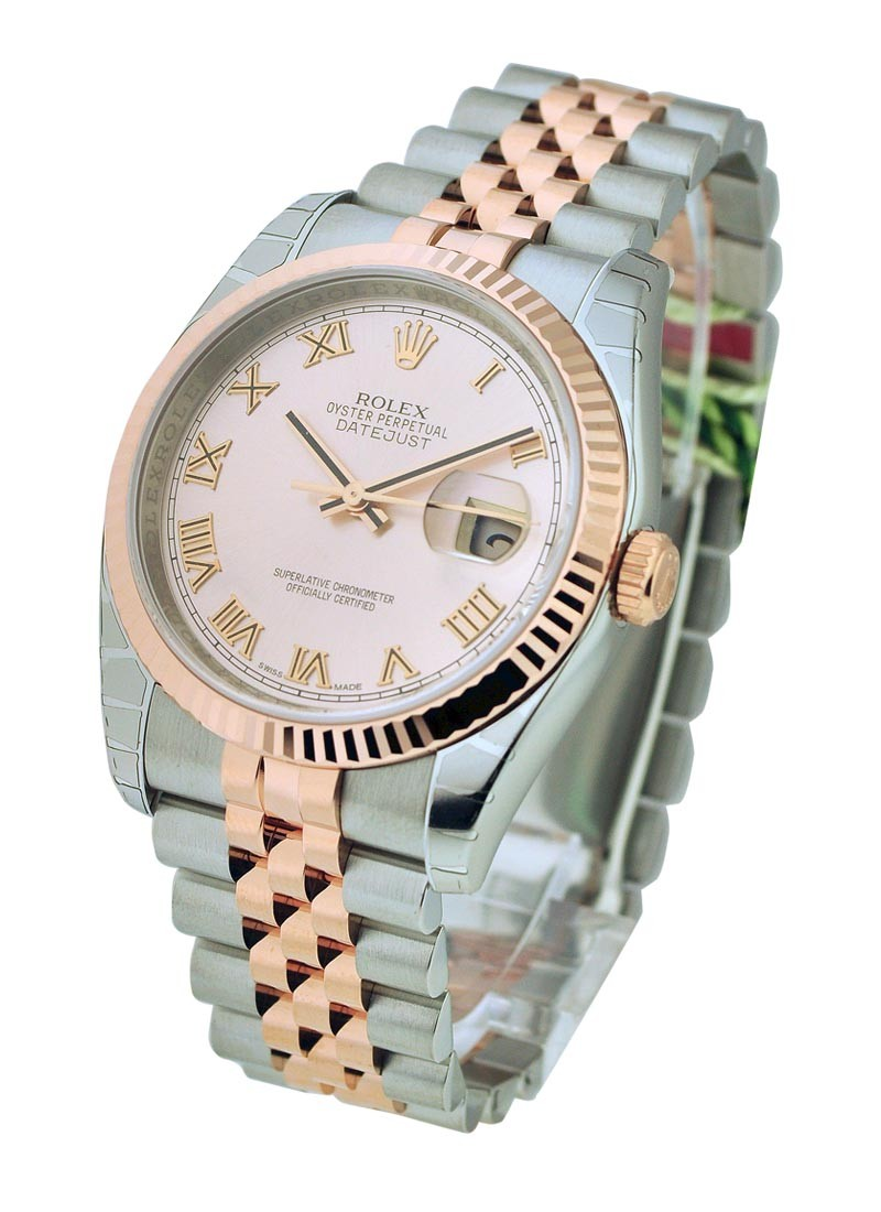 Rolex Unworn Mens 2 Tone Rose Gold and Steel Datejust 36mm