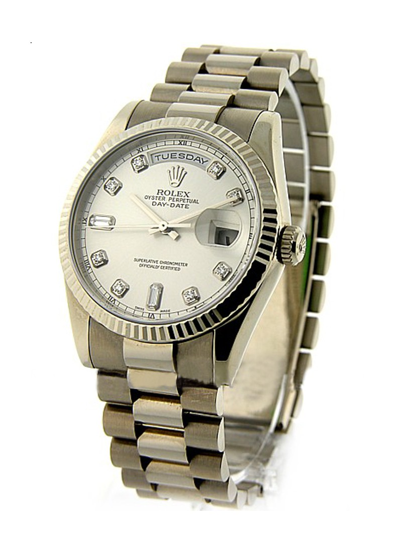 Rolex Unworn Men's President Day   Date in  White Gold with Fluted Bezel