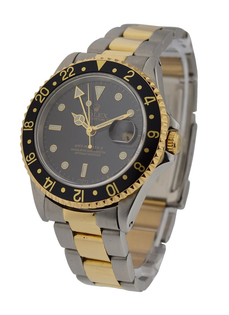 Rolex Used GMT Master 2-Tone with Yellow Gold Black Bezel