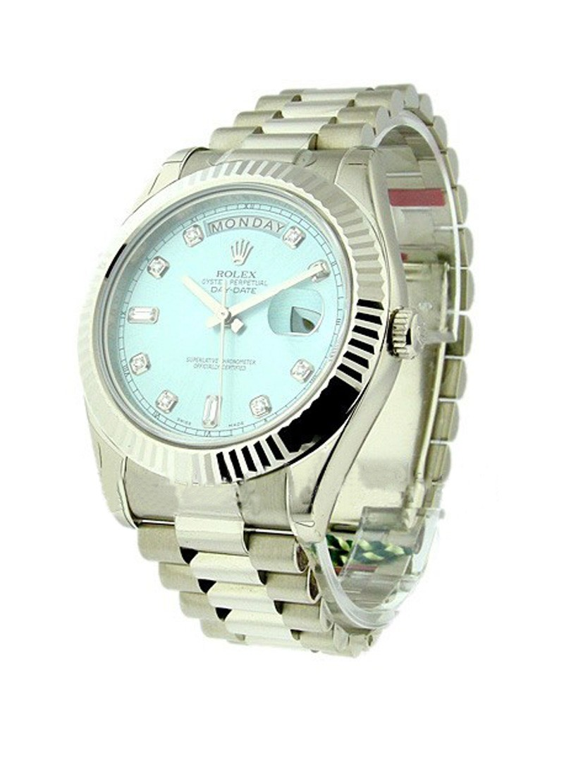 Rolex Unworn Men's Day Date II President in White Gold in Fluted Bezel