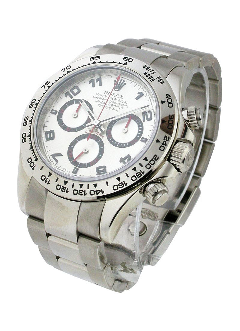 Pre-Owned Rolex 40mm Daytona in White Gold with Tachymeter Bezel