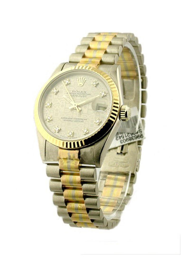 Pre-Owned Rolex Mid Size Tridor President - White Gold - Factory Diamond Bezel
