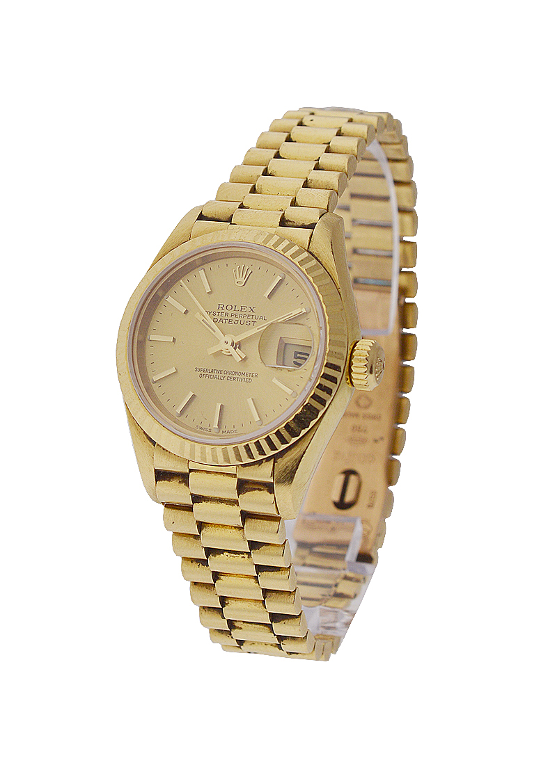 Rolex Used President in Yellow Gold with Fluted Bezel