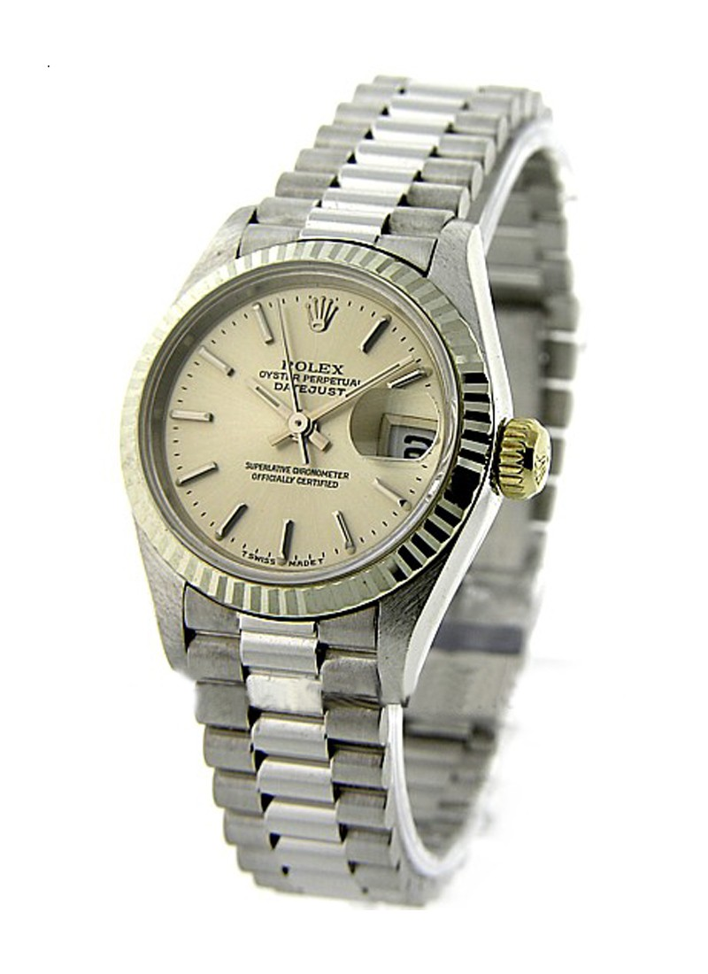 Rolex Used Ladies President in White Gold with Fluted Bezel