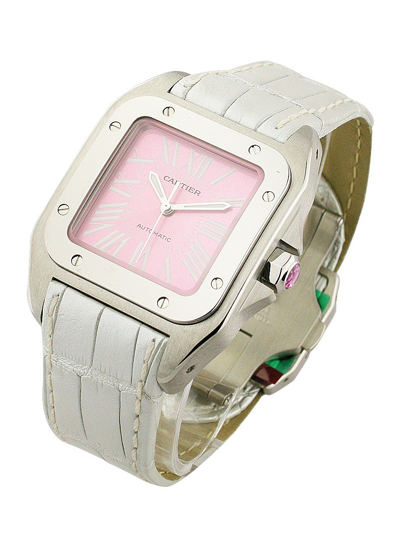 Cartier Santos 100 Lady's - Pink Opaline Dial