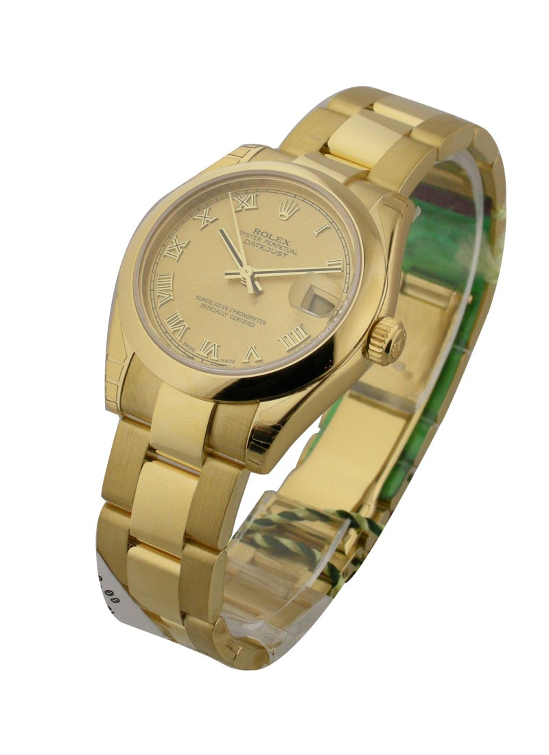 Rolex Unworn  Mid Size Yellow Gold President   Champagne Roman Dial
