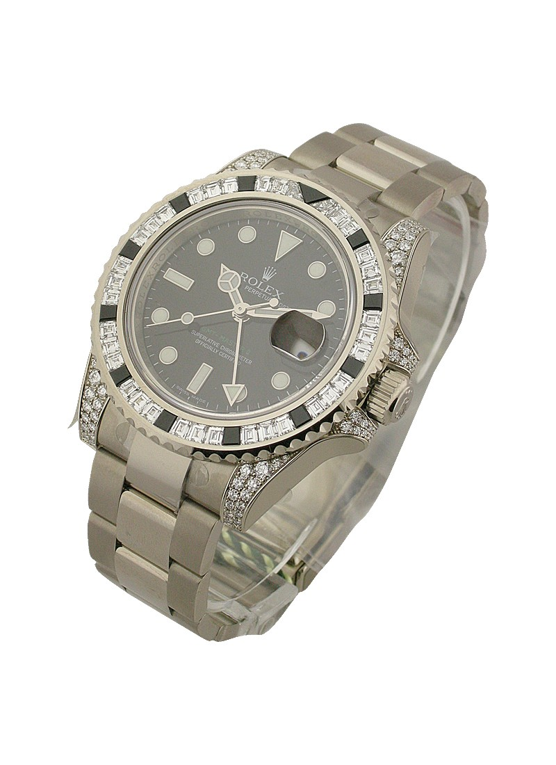 Rolex Unworn GMT Master II in White Gold with Baguette Diamond Bezel and Lugs- Limited Edition