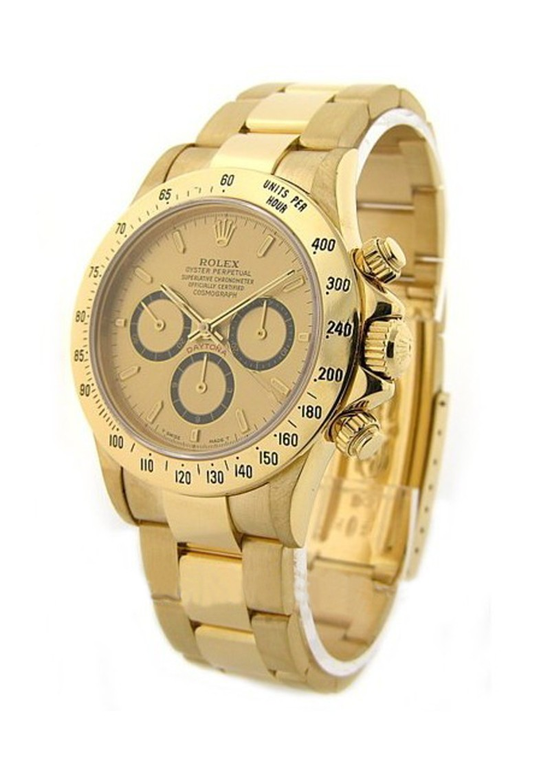 Pre-Owned Rolex Daytona Zenith Movement in Yellow Gold with Engraved Bezel