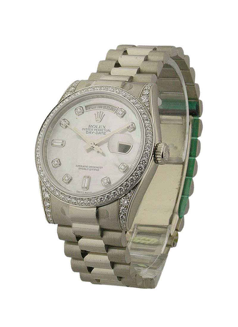 Pre-Owned Rolex President - DayDate - White Gold - Factory Diamond Bezel - Diamond Lugs