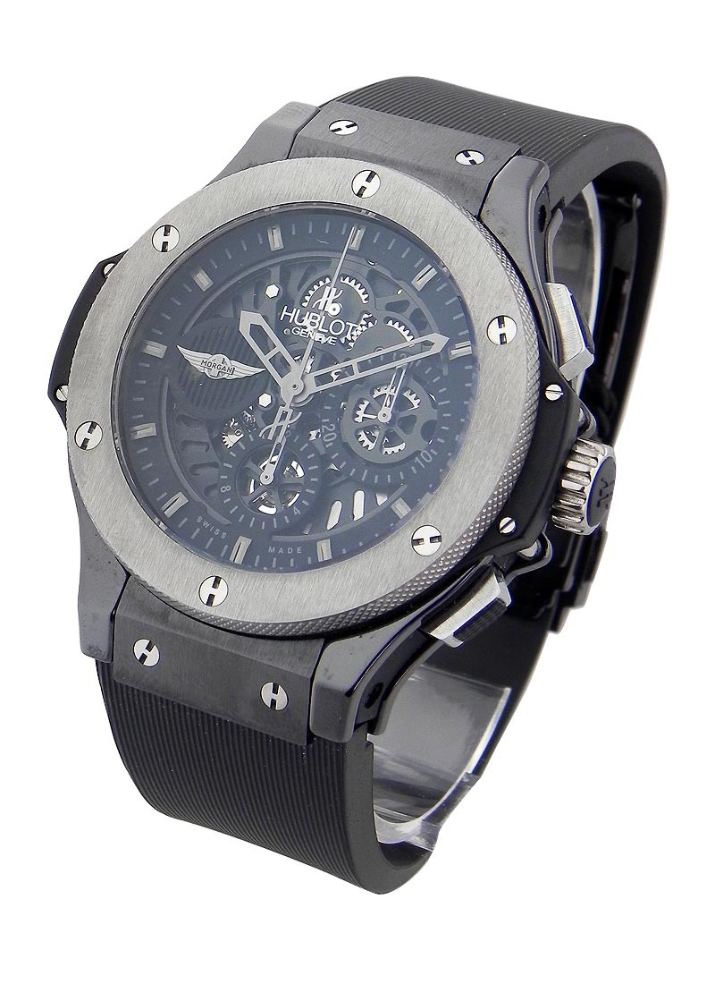 Hublot Aero Bang Morgan 44mm in Black Ceramic with Tungsten Bezel
