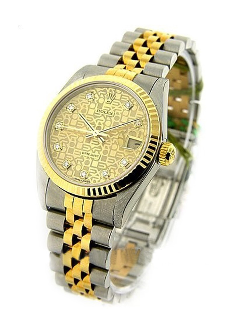 Rolex Used Mid Size Datejust - Steel with Yellow Gold - Fluted Bezel