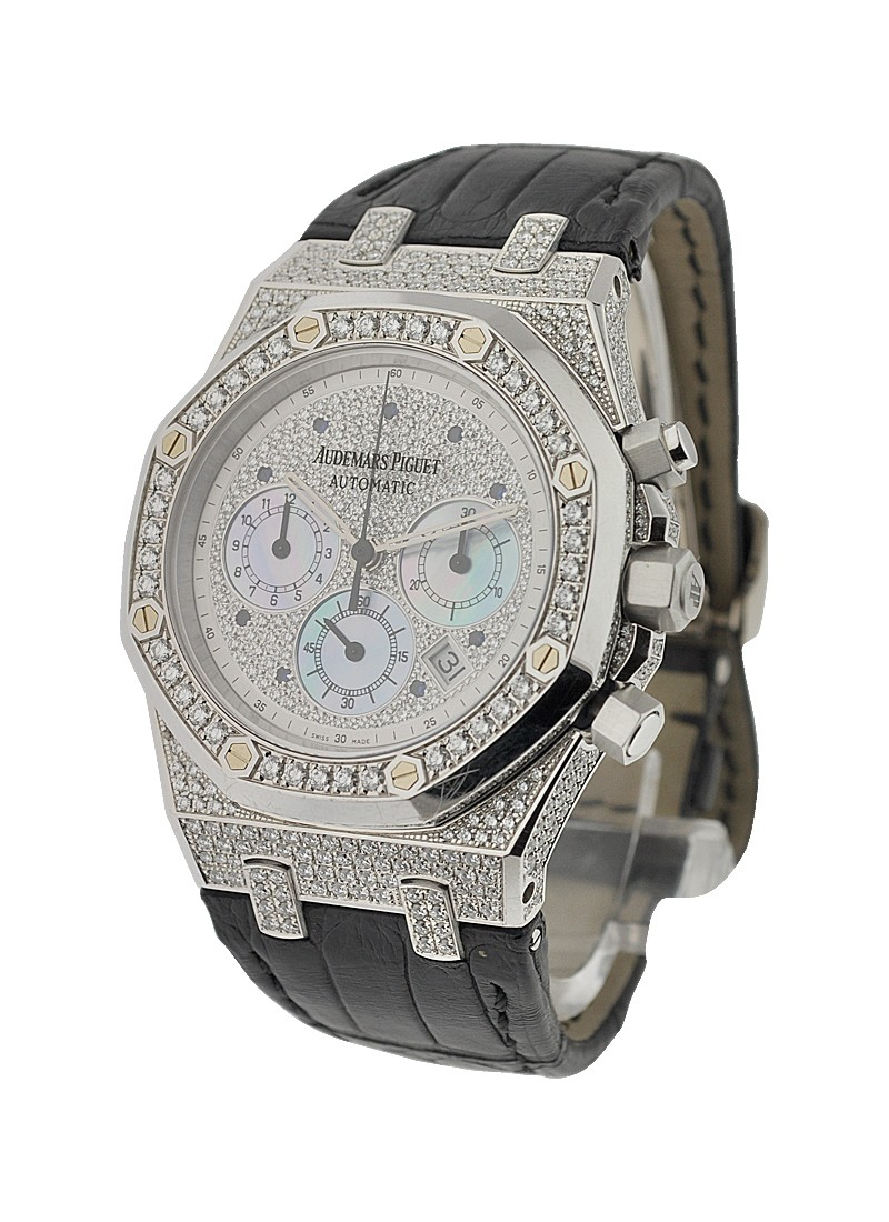 Audemars Piguet Royal Oak Chronograph in White Gold with Diamond Bezel