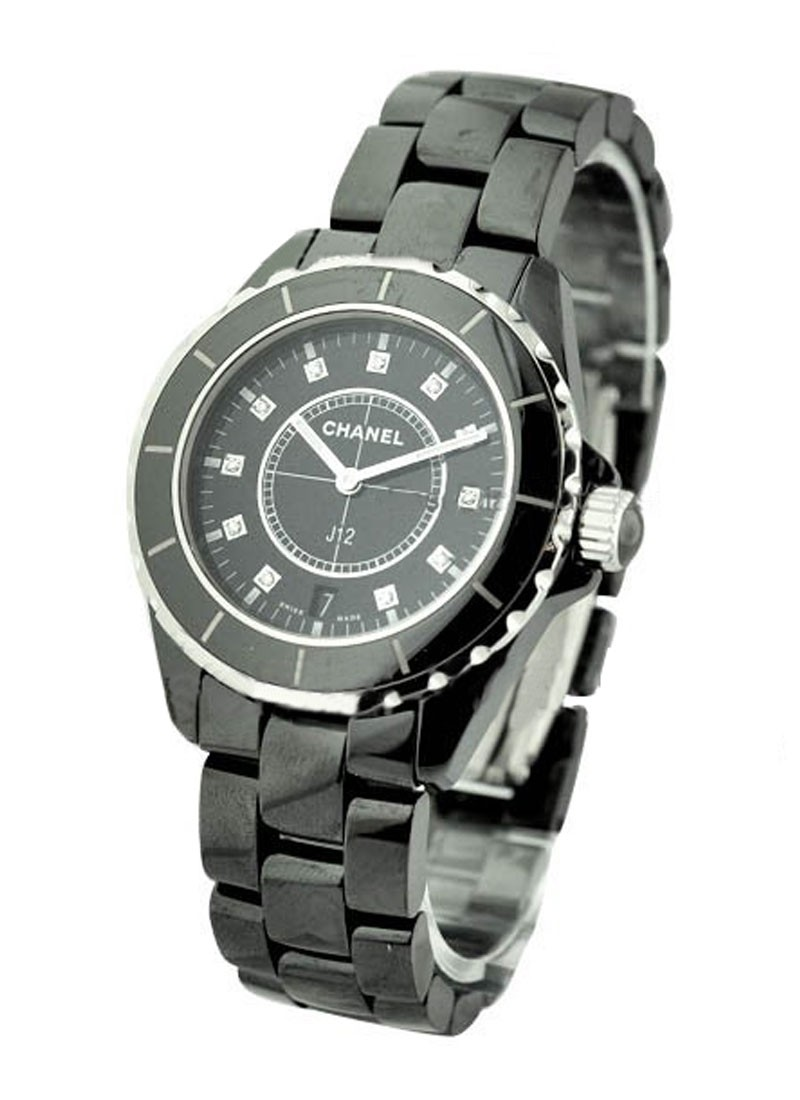 Chanel Black J12  38mm Quartz in Black Ceramic & Stainless Steel