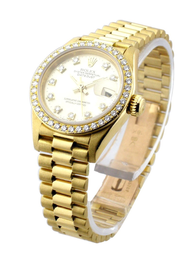 Rolex Used Lady's President   Yellow Gold with FACTORY DIAMONDS