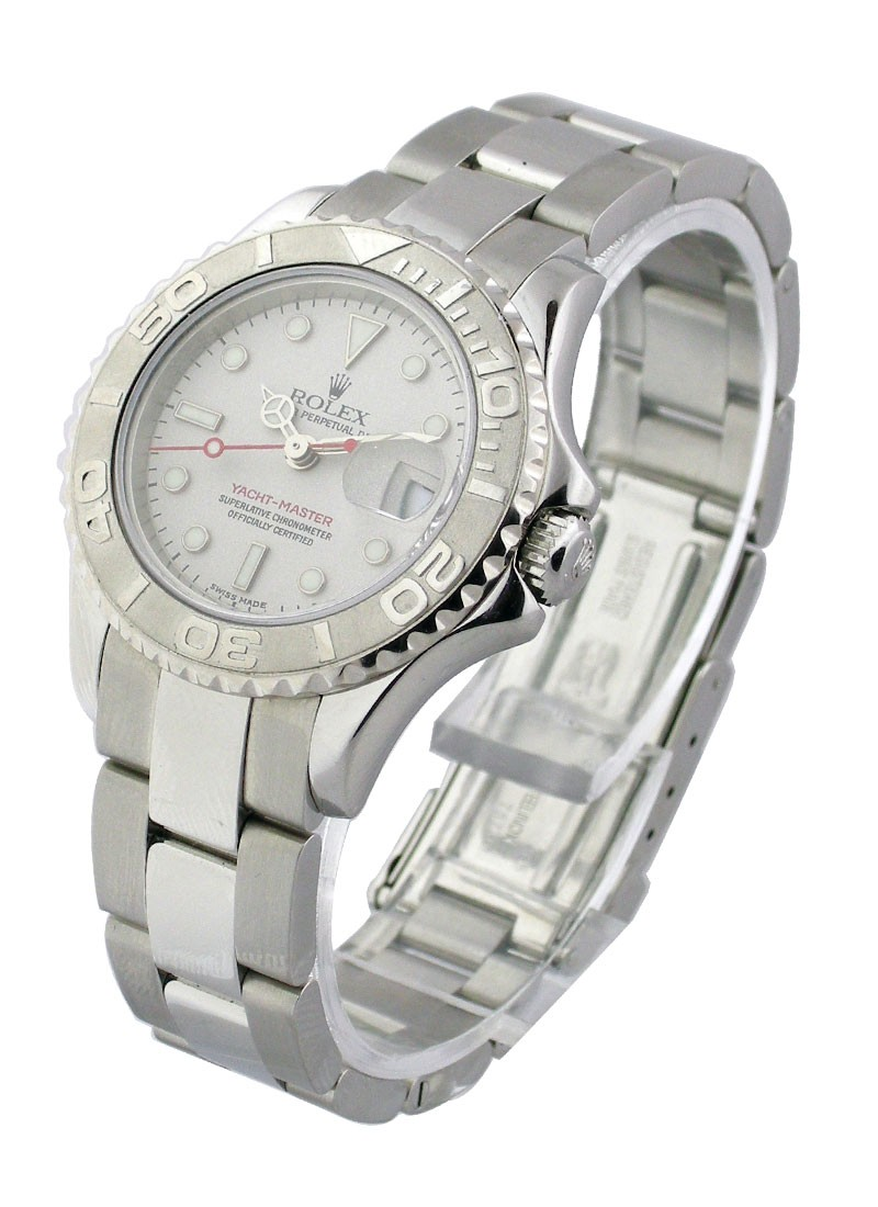 Pre-Owned Rolex Ladies Yachtmaster 29mm in Steel with Platinum Bezel