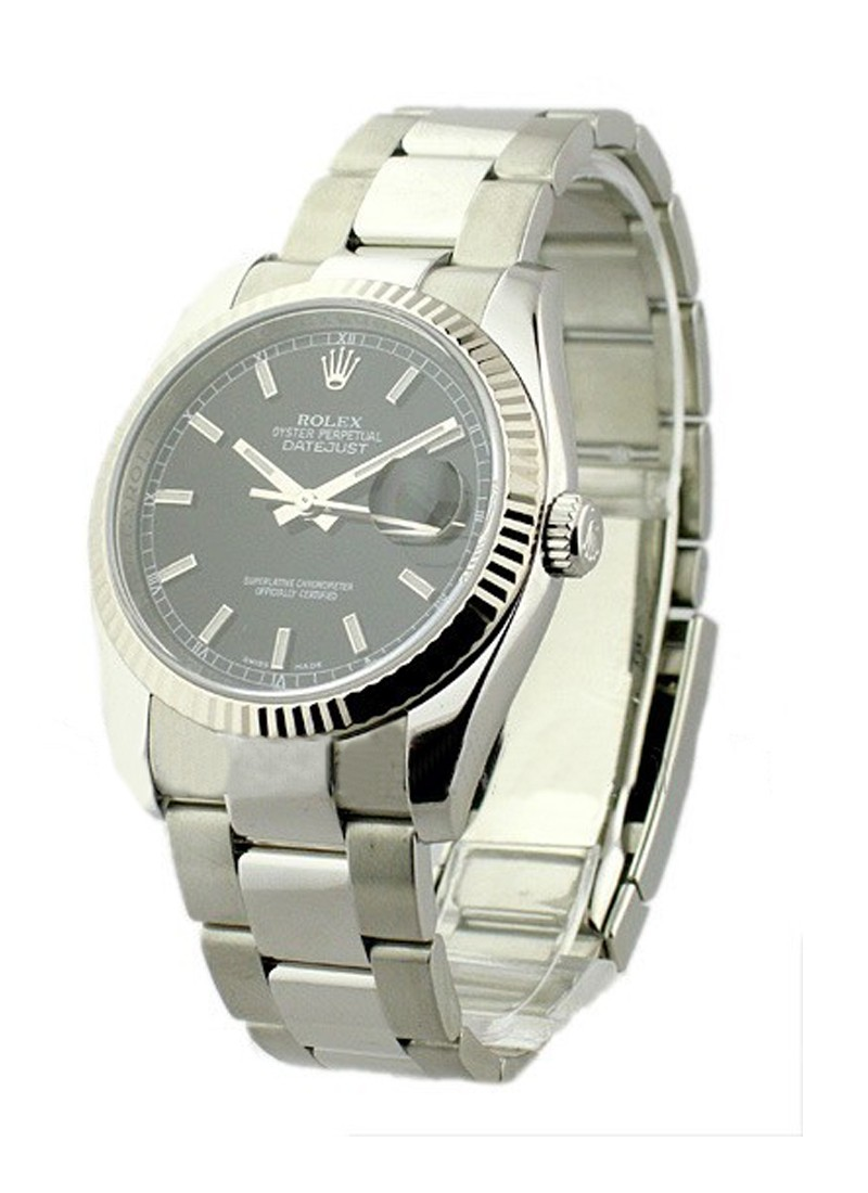 Pre-Owned Rolex Datejust 36mm in Steel with White Gold Fluted Bezel