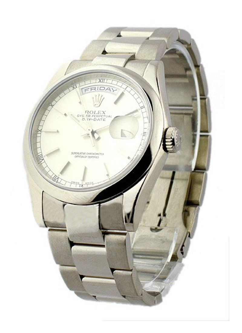 Rolex Used DayDate - President - White Gold -  Smooth Bezel