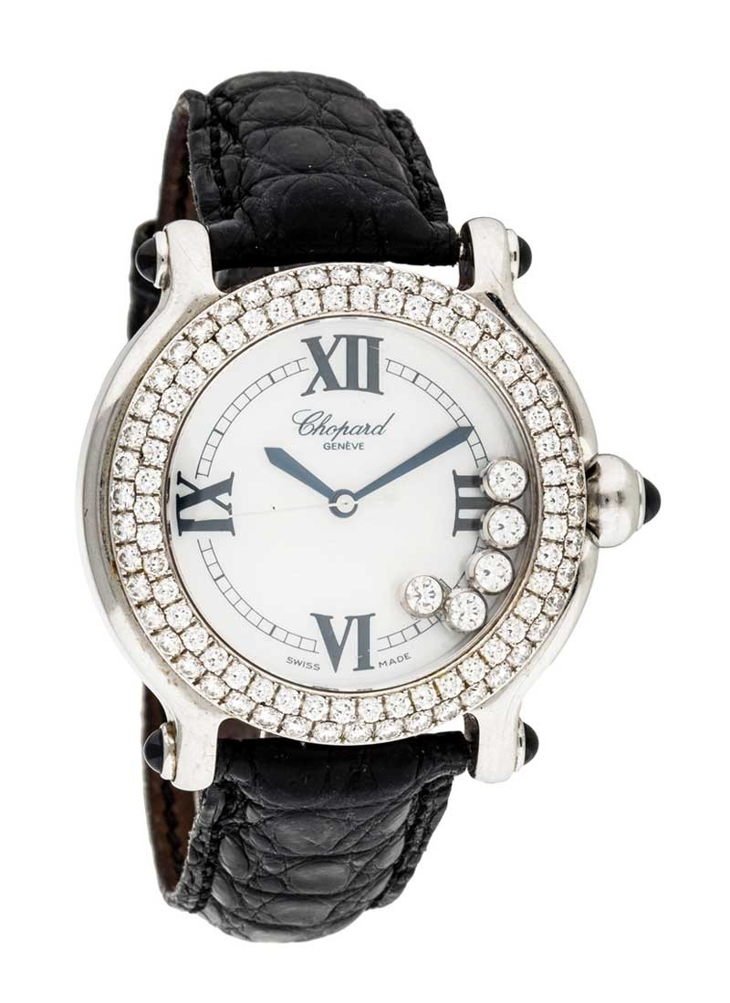 Chopard Happy Sport Round in Steel and White Gold with 2 Row Diamond Bezel