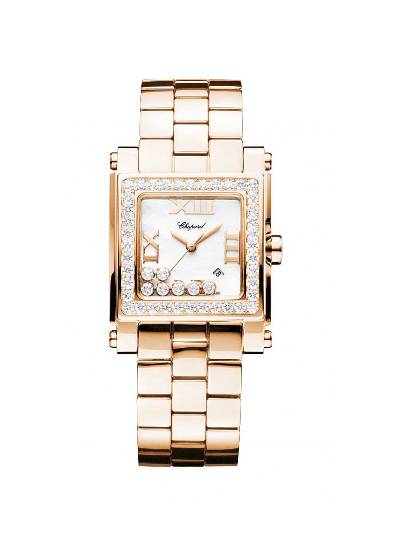 Chopard Happy Sport Square Rose Gold with Diamond Bezel