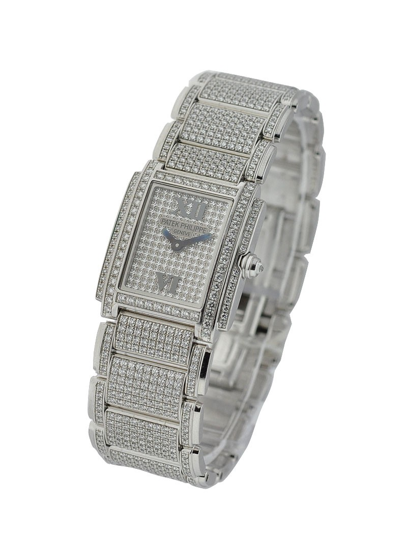 Patek Philippe Twenty-4  Full Pave Diamonds 22mm in White Gold with Diamonds Bezel